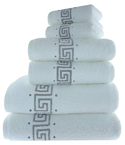 Set di 6 asciugamani da bagno ricamati eleganti 100% cotone con greca 600 g/mq 2 asciugamani da bagno 2 asciugamani per le mani e 2 asciugamani per