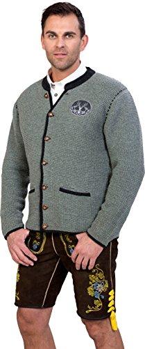 Almwerk Herren Trachten Strick Jacke Modell Ludwig, Größe Herren:58 - 4XL - Bundweite 105-109 cm;Farbe:Hellgrau - 3