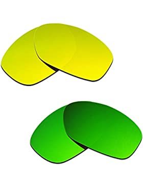 Hkuco Plus Mens Replacement Lenses For Oakley Pit Bull 24K Gold/Emerald Green Sunglasses