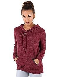KRISP® Femmes Sweats Casual Pullover Uni A Capuche Top Jersey