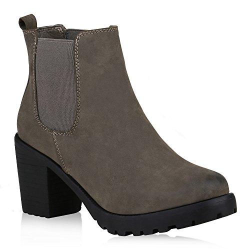 Damen Stiefeletten Chelsea Boots Profilsohle Blockabsatz Schuhe 152957 Khaki Grün 39 Flandell