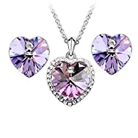 Swarovski Elements 18K White Gold Plated Jewelry Set encrusted With Matching Earrings SWR-248