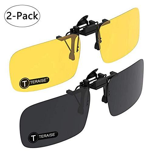 TERAISE Gafas De Sol Con Clip, 2 Pares/Día + Visión Nocturna Hombres/Mujeres Gafas De Sol Polarizadas Con Solapa Uv400, Convenientes y Seguras Ajuste Sobre Anteojos Recetados Ideal Para Conducir y