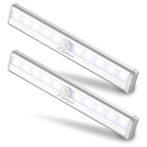 【set di 2】zanflare 10 led luce per armadio a batteria, per guardaroba, scala, corridoio, armadietto, cucina, garage, servizi igienici, cantina, uscita, ecc 【 bianca fredda, batterie non incluse】