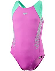 Speedo Girls 'Boom Splice Muscleback Bañador, niña, color Orchid/Green Glow, tamaño talla 30