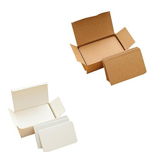 Cosanter 100 Stück Kraftpapier Wort Karten blanko mit 100 Stück Weiß Kraftpapier Karte Graffiti Spielkarten Memo Pad DIY blanko für Schule Spiel