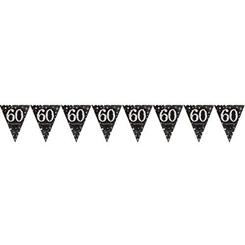amscan 99005701,8m Gold Celebration 60. Prismatic Happy Birthday Pennant Banner