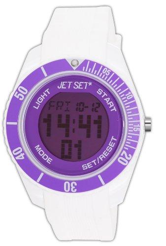 J-Jet Set 93491-16 Bubble Unisex Watch Digital Quartz Dial White Rubber Strap Purple