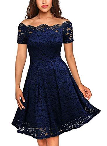 MIUSOL Damen Vintage 1950er Off Schulter Cocktailkleid Kurzarm Retro Spitzen Schwingen Pinup Rockabilly Kleid Dunkelblau XS