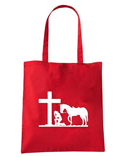 T-Shirtshock - Borsa Shopping FUN1079 cowgirl kneeling at cross diecut decal 32642 Rosso
