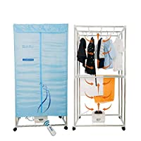 Concise Home Foldable Electric Clothes Dryer Stainless Steel Indoors Two Layers Fast Air Dry Hot Wardrobe Machine drying rack With remote control