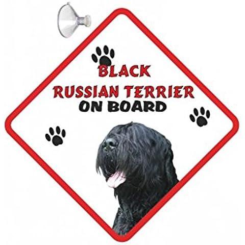 Ruso negro de señal de salidas de para coche de perro Airedale Terrier para colgar con ventosa de goma 32