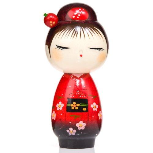 Hübsche rote Haarnadel japanische Kokeshi Puppe