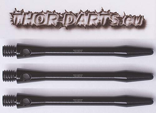 THOR-DARTS 3 Schwarze 35mm Premium Dartpfeil Schäfte Markenqualität Aluminium Alloy Shafts (35mm Aluminium schwarz / 35mm Alloy Black, 3 Stück / 3pcs)