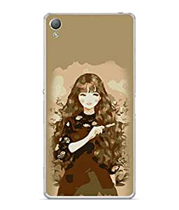 PrintVisa Designer Back Case Cover for Sony Xperia X :: Sony Xperia X Dual F5122 (Illustration Girl Black Hair Wallpaper Background)