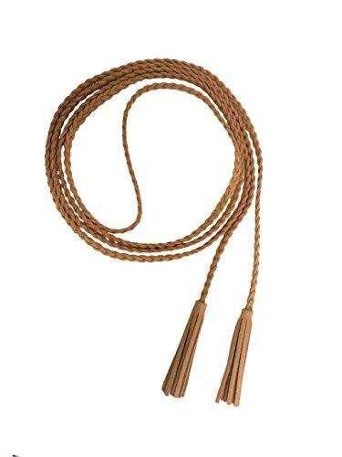 Nanxson Damen/Mädchen Dekorative Gestrickte Lederbauchkette/Seil/Gurt mit Troddel PDW0042 (apricot) -