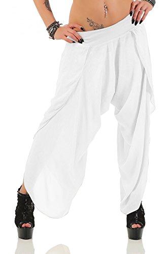 Damen Harem Aladin Pump Hose Hosenrock ( No 540 ) (Einheitsgröße für Größen 36-42, Weiß) (Seide Harem)