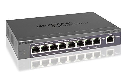 NETGEAR FVS318G-100EUS ProSAFE 8-Port Gigabit VPN Firewall & 9-port Gigabit Switch (8x LAN, 1x WAN)