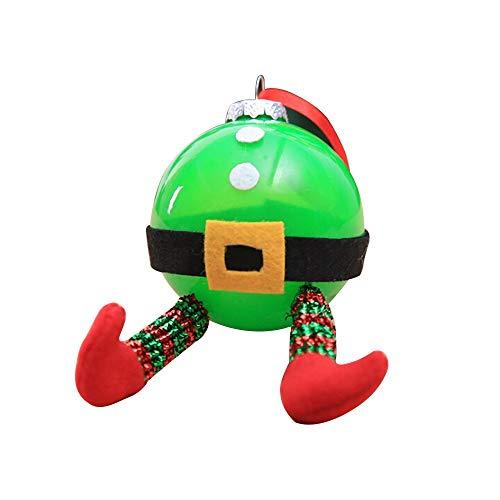 Pendant Drop Ornaments - 1pc Diy Christmas Santa Elf Cartoon Ball Xmas Tree Hanging Ornament Plastic Transparent Color - Led Transparent Snowflake Pine Doll New Retro Cone Santa Ornament -