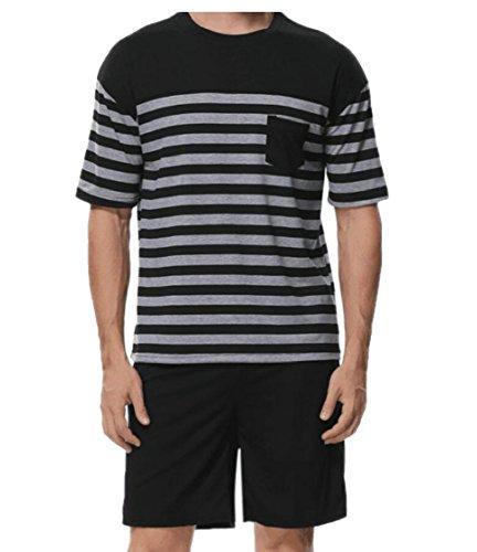 Gocgt Men's Cowl Neck Short Sleeve Patchwork Striped Chest Pocket Shorts Two Piece Suits
