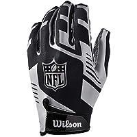 Wilson WTF930700M Guantes de Receptor para Fútbol Americano, Nfl Stretch Fit Receivers Glove, Talla Única, Negro/Plateado