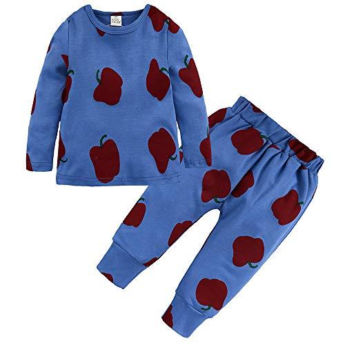 (Kleinkind Babybekleidung Bio-Baumwolle Bekleidungssets Oberteile Babymode Mädchenbekleidung Baby Boy Girl Kinder Floral Tops T-Shirt Hosen Pyjama Nachtwäsche Felicove)