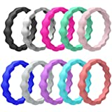 SUPVOX Stackable Silicone Wedding Rings Wave Pattern Wide Rubber Beaded Rings US Size 10 Pcs - B07KCXNX33