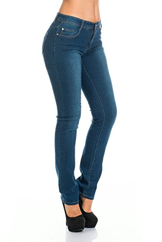 Damen Jeans Stretch Hose Dunkel Blau Bleached gerades Bein Used Look Gr. 36 - 44 Dunkelblau