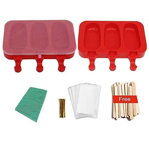 POLOFO 2er-Pack von Eis Eis am Stiel-Formen, Silikonformen Ice Lolly Bpa Free mit Stöcken und Scheuern Pad rot