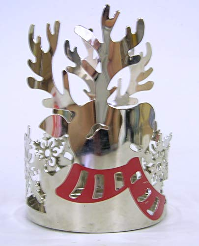 YANKEE CANDLE Reindeer Jar Holder Renntier Kerzenhalter, Metall, Silber, 9.5 x 9.5 x 12.2 cm