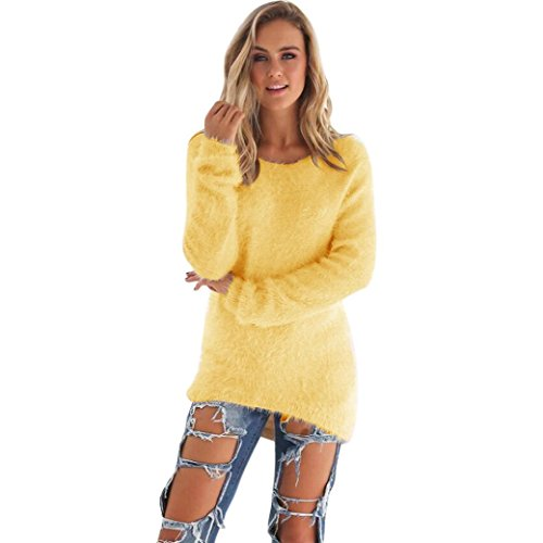 ullover Solide Langarm Sweater Bluse (L, Gelb) (Gelb-wolle Pullover)