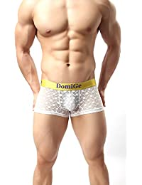 DomiGe Mens Sheer Mesh See-Through Trunks, Black, White, Yellow, Orange and Grey Colours