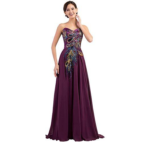 Defect Abend-Kleid Bestickt Pfau Abendkleid Mop Boden langes Abendkleid Formale Cocktail Party Chiffon Kleid -