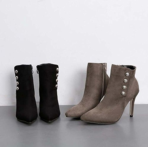 Donna 9,5 cm Stiletto punta a punta in pelle scamosciata Martin Boots Dress Boots semplice colore puro rivetti cerniera OL Court Shoes Eu taglia 36-41 Gray