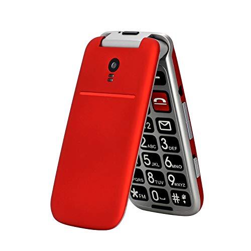 artfone CF241A Seniorenhandy ohne Vertrag | Dual SIM Handy mit Notruftaste | Rentner Handy gro?e Tasten | 2G GSM Klapphandy| Gro?tastenhandy mit Ladeger?t und Kamera | 2,4 Zoll Farbdisplay(Rot)