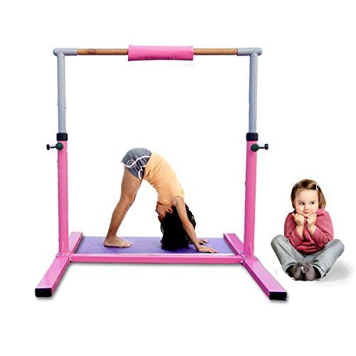 Seababyhouse Gymnastik horizontale Bar Ausrüstung gymnastische Turngerät Turnreck für Kinder (ROSA)