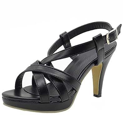5caff8a64ac06 COOLCEPT Women Fashion Gladiator Strappy Bootie Strappy Sandals Stiletto  Peep Toe (34 EU