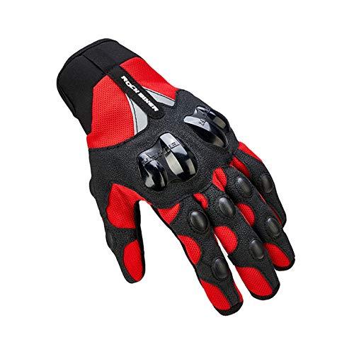 Bruce Dillon Guanti da moto caldi invernali da mountain bike motocross touch screen guanti da moto da uomo impermeabili - Summer Gloves Red XLX