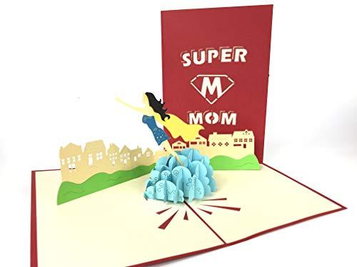 Super Mom Pop Up Grußkarte Anniversary Baby Happy Geburtstag Ostern Mutter Thank You Valentine 's Day Hochzeit Kirigami Papier Craft Postkarten - Happy Mom Day Valentines