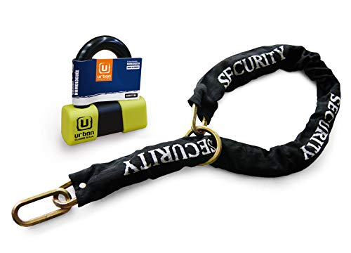 Urban Security U75+10.120L Anti-Diebstahl-Vorhängeschloss Mini U ø18 hohe Klasse Klasse geprüft SRA + Kette Multifunktions-Schleife 120 cm