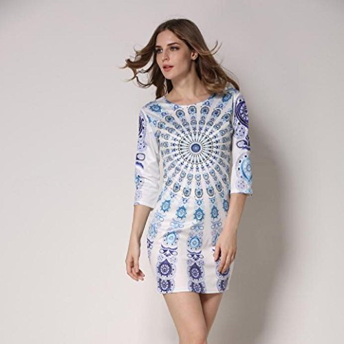 Fami Autumn Women Elegant Floral Printed Dress Evening Party Beach Dress Bleu
