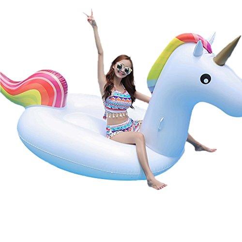 boby Aufblasbarer Pool Schwimmgerät, Aufblasbare Luftmatratze Inflatable Pool-Lounger Schwimminsel Badeinsel für Erwachsene und Kinder Einhorn 270 x 110 x 136 Zentimeter