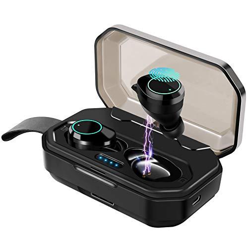 Écouteur sans fil Bluetooth 5.0, Casque Bluetooth Ecouteurs IPX7 Etanches avec son stéréo haute fidélité Microphone intégré, Casque Bluetooth 100H Playtime avec étui de charge de 3000 mAh (Noir)
