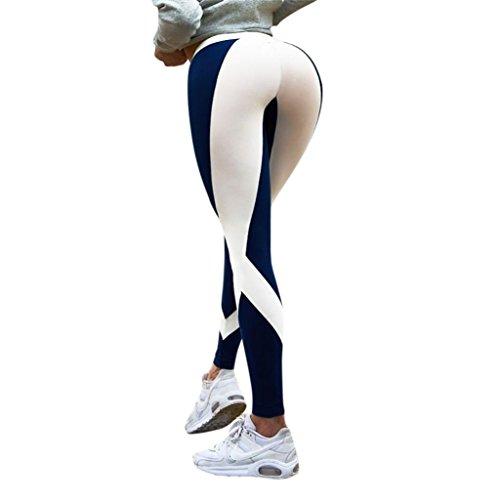Legging Sport Femme Pantalon Taille Haute Skinny Yoga Gym Fitness Running Sport Chic SANFASHION(34FR, Bleu NX022)
