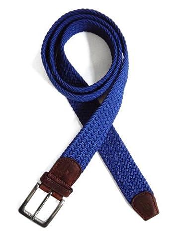 TYLER & TYLER Woven Belt Mens Belt Blue Medium