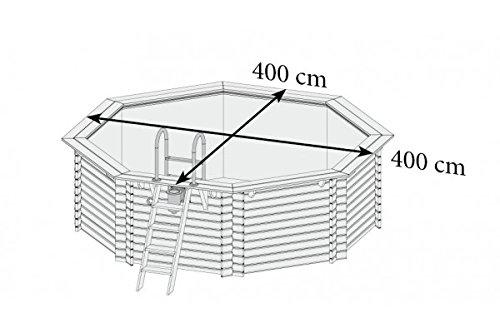 Holzpool Set 4,00 x 1,20 m mit Tiefbeckenleiter aus Edelstahl - 3