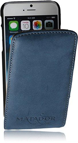 Original Matador Slim Echt Leder Handytasche für Apple iPhone 6 Plus/+ (5.5) Flip-Style/Case Schutzhülle Tasche Hülle Cover Klapptasche Ultra Dünn mit EC/Kreditkartenfach und verdecktem Magentverschlu Blau