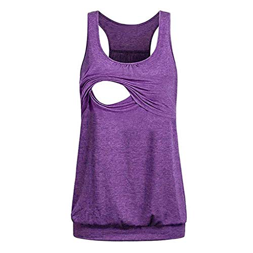 HULKY T-Shirt Stillweste Stillen für Frauen Sport Einfarbig Ärmellos Tanktops Shirt Tops Bluse(Violett 3,L)