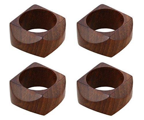 Shalinindia Anelli di tovagliolo artigianalmente in legno naturale-Set di 4 anelli, RH_Z_1711_S4