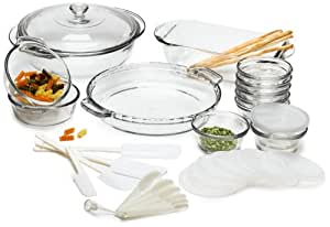 Anchor Hocking Expressions Glass Cookware, 33-Piece Set by CSB Commodities
